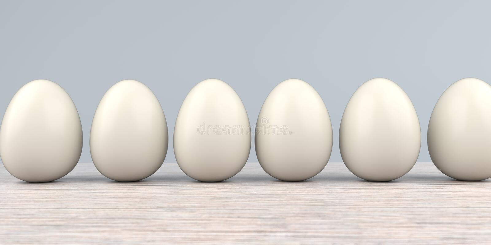 Natural Easter Eggs Wooden Table. Natural easter eggs on the wooden table stock illustration
