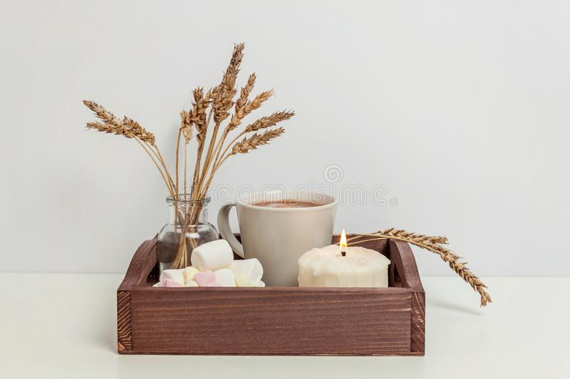 Natural eco home decor with cup coffee marshmallow and candle on wooden tray stock photos