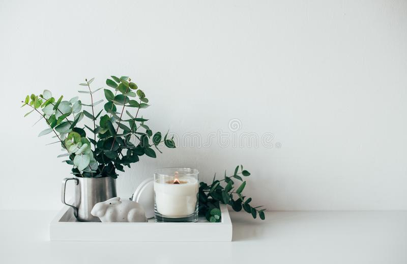 Natural eco home decor with green leaves and burning candle on t stock photography