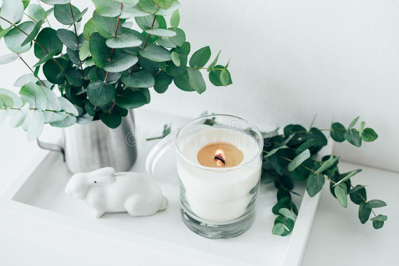 Natural eco home decor with green leaves and burning candle on t. Ray, boho interior decorations stock photo