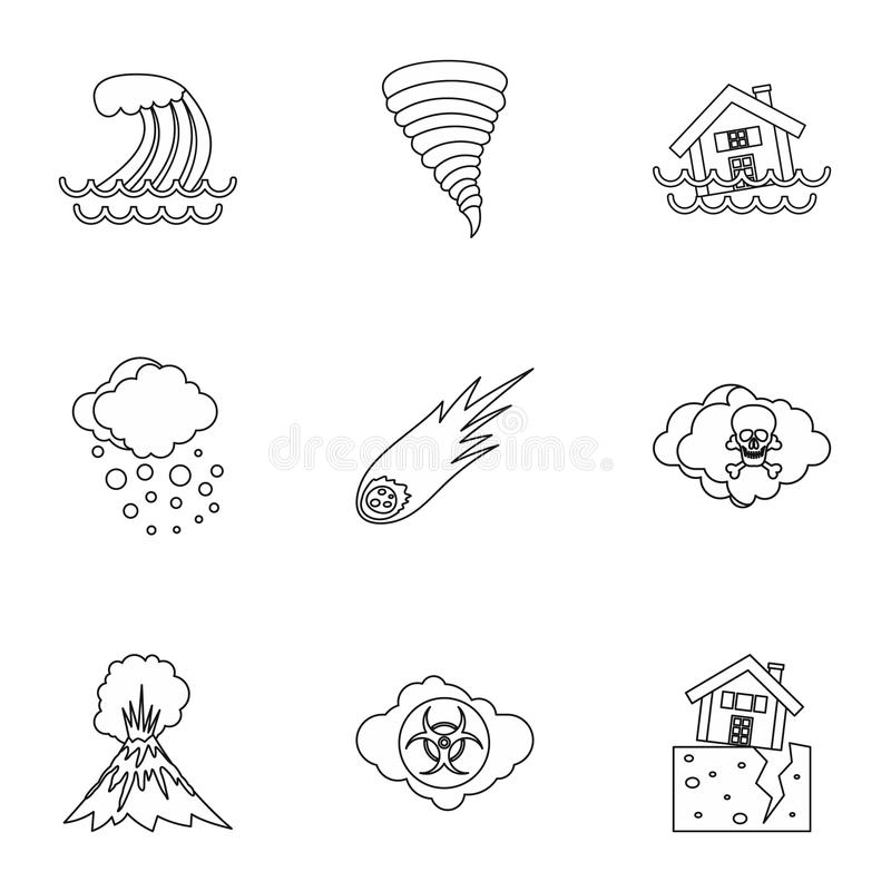 Natural emergency icons set, outline style. Natural emergency icons set. Outline illustration of 9 natural emergency icons for web royalty free illustration