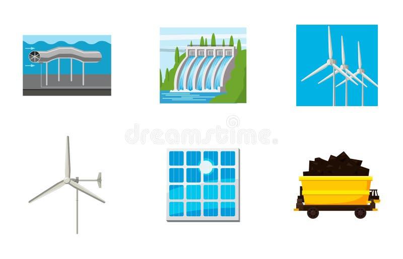 Natural energy icon set, cartoon style stock illustration