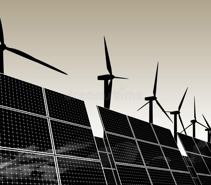 Natural energy sources. Natural and renewable energy sources for all weather conditions and time of day. Wind power and solar collectors stock illustration
