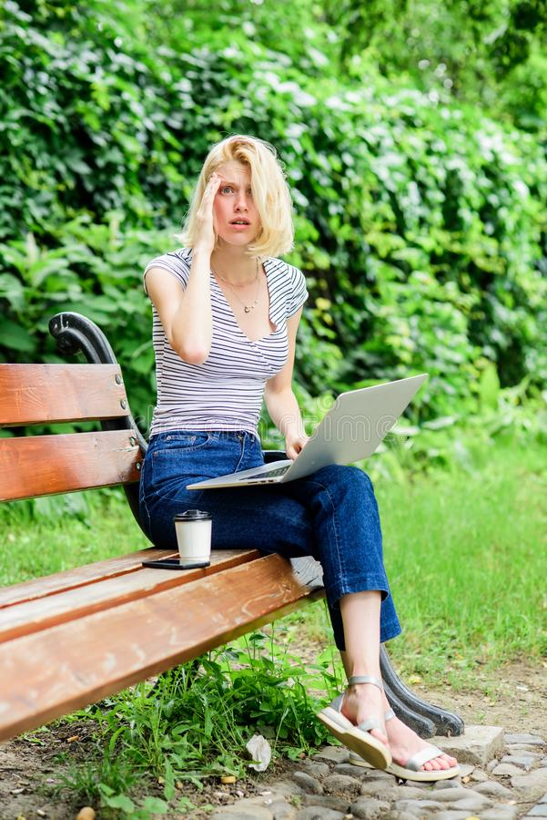Natural environment office. Education concept. Notebook internet remote job. Work in park. Reasons why you should take. Your work outside. Power of nature calls royalty free stock image