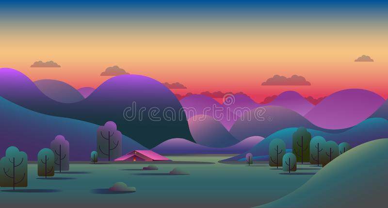 Natural evening landscape with green hills, trees, mountains and camping tent on meadow - vector illustration background.  stock illustration