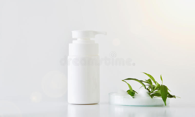 Natural face cleanser, Cosmetics foam pump. stock photo