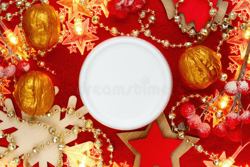 Natural face cream jar on festive Christmas background top view. Womans New Year present idea stock photography