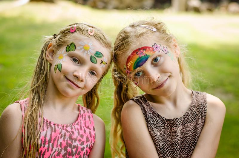Natural face painting royalty free stock images