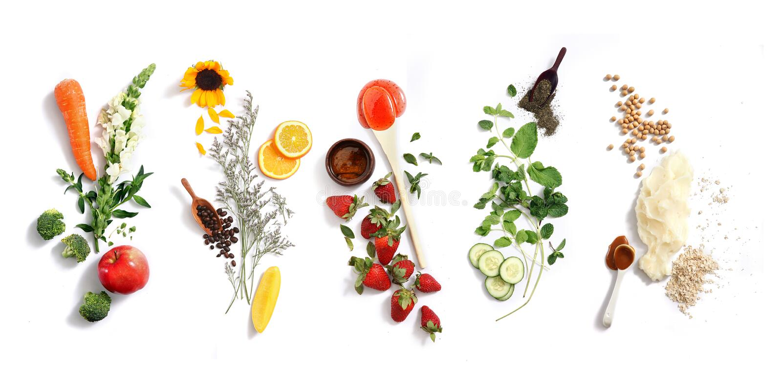 Natural facial ingredients. Natural facial ingrredients on white background royalty free stock images