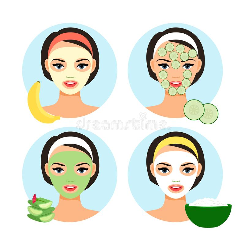 Natural facial masks. Homemade cosmetics facial mask set for cartoon cute girl face vector illustration stock illustration