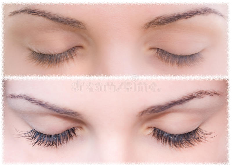 Natural and false eyelashes before and after. royalty free stock image