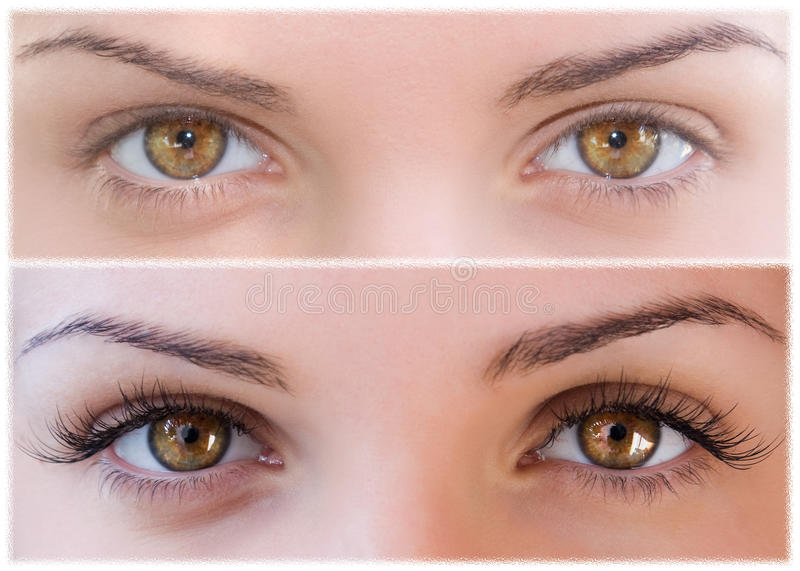 Natural and false eyelashes before and after. royalty free stock photo