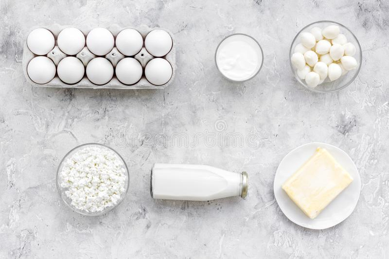 Natural farm products. Milk, cottage, eggs, cheese, yougurt on grey background top view. Monochrome royalty free stock image