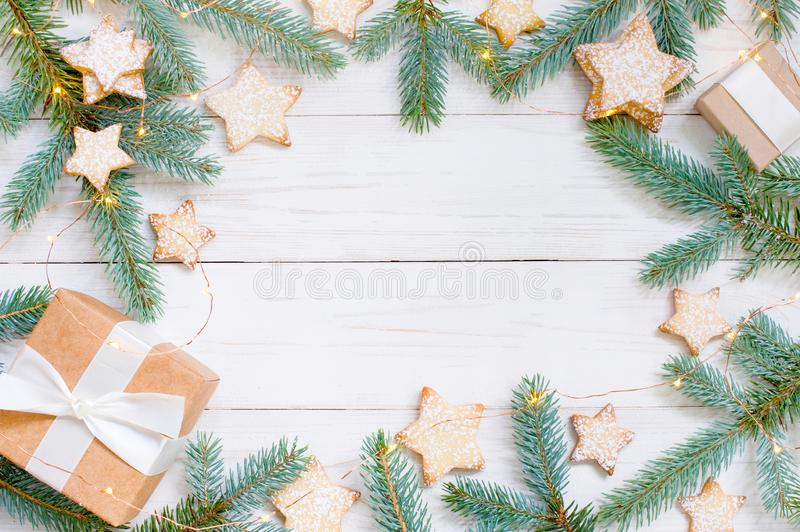 Natural festive white wooden background with gift box stock image