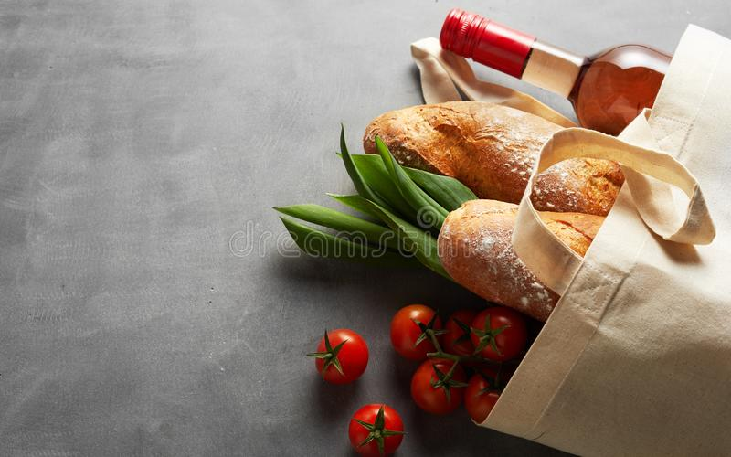 Natural fiber eco-friendly reusable shopping bag royalty free stock photo