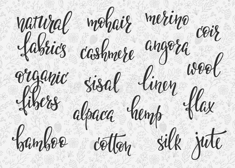 Download Natural Fibers Types Lettering Set Stock Illustration