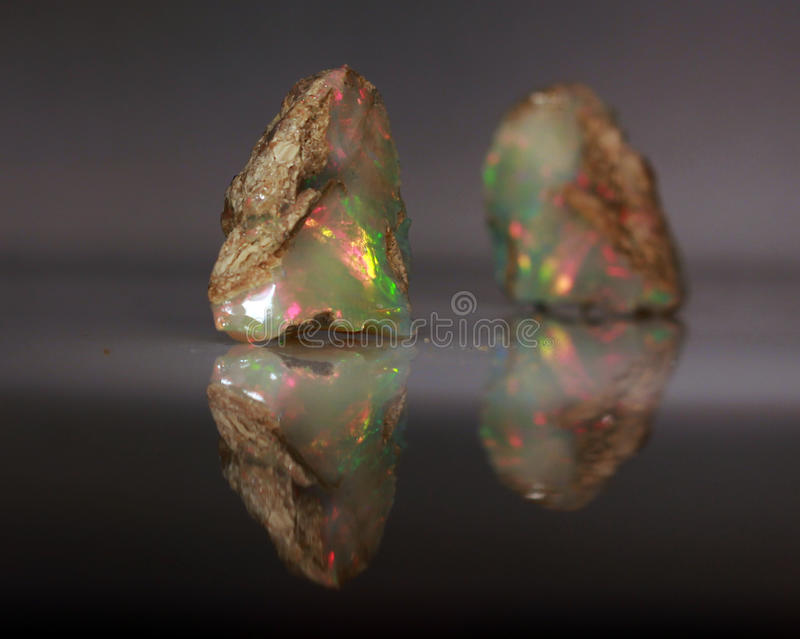 Natural fire play-of-colour opal Welo. Natural black play-of-colour opal - bright natural stone rough with yellow and red green indigo opalescence play-of-colour stock image