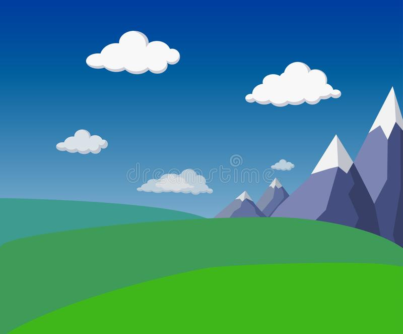Natural flat summer green landscape with mountains, green hills, fields, bright blue sky and fluffy clouds. stylized landscape. Natural flat summer green vector illustration