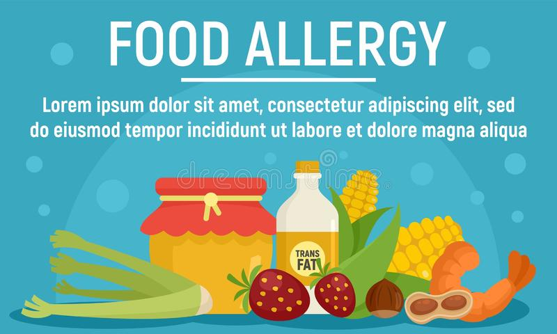 Natural food allergy concept banner, flat style stock illustration