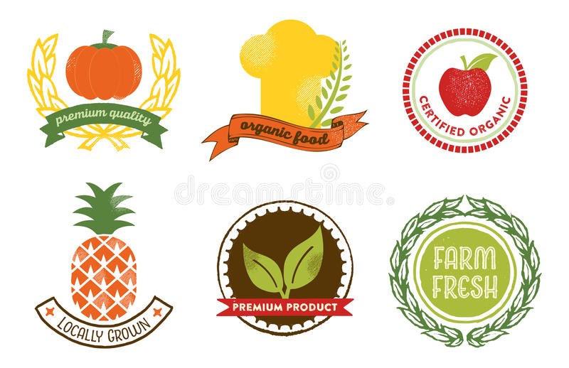 Natural Food badges. Set of 6 badges and labels for web and printed materials. They read Farm fresh, Certified organic, Locally grown, Premium Product, Organic stock illustration