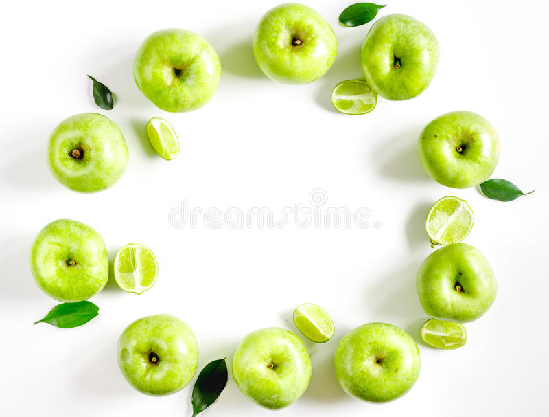 natural food design with green apples and leaves white desk background top view mock up royalty free stock image