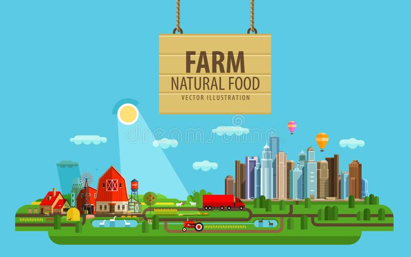 Natural food. Farm and city. Vector illustration stock illustration