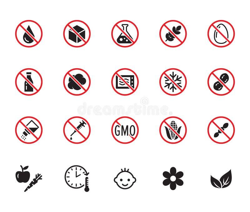 Natural food flat glyph icons set. Sugar, gluten free, no trans fats, salt, egg, nuts, vegan vector illustrations. Signs stock illustration