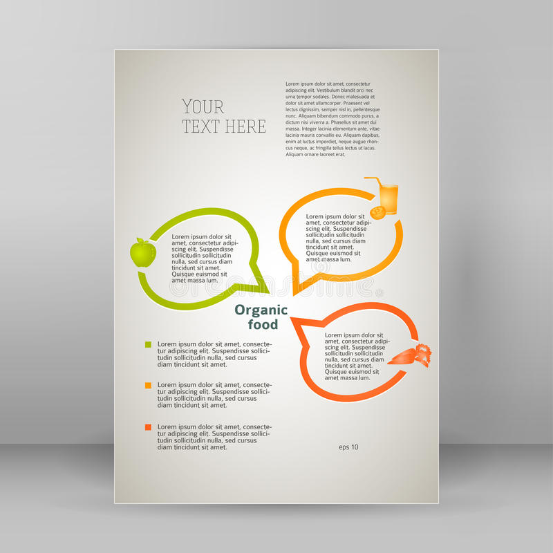 Natural food oganic flyer template A4 brochure layout vector illustration