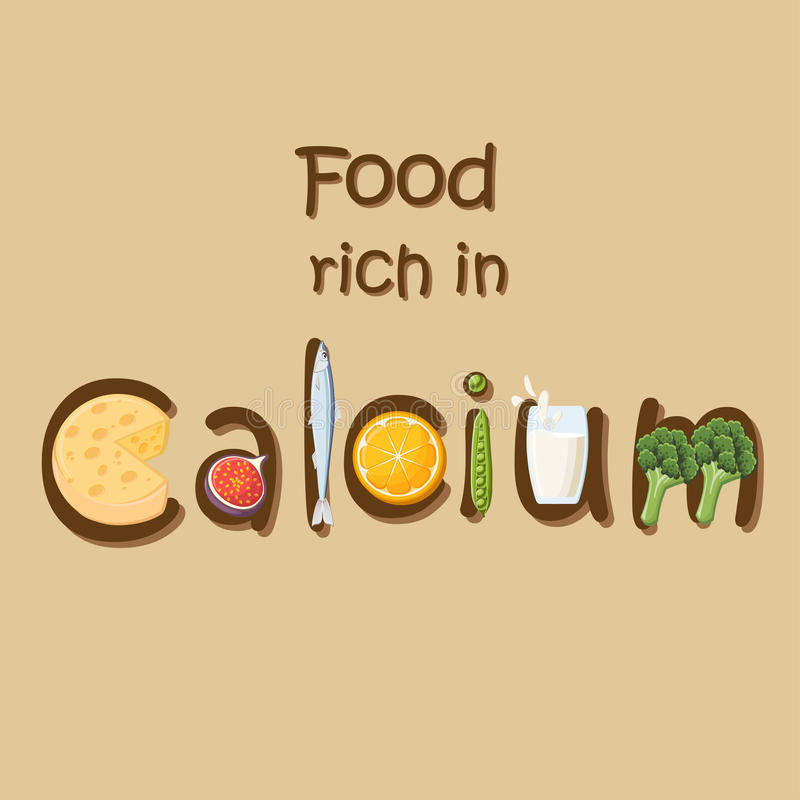 Natural food rich in mineral Calcium. Food rich in mineral Calcium. Cheese, figs, sardines, oranges, green peas, milk and broccoli forming the word Calcium stock illustration
