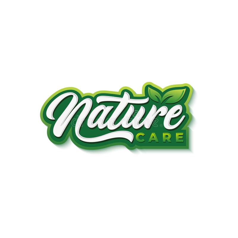 Natural food typography logo design template stock photo