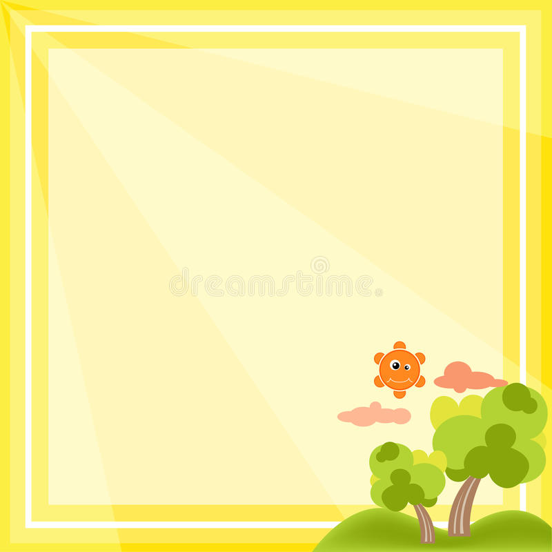 Natural Frame Cartoon Vector On Yellow Background Stock Vector ...