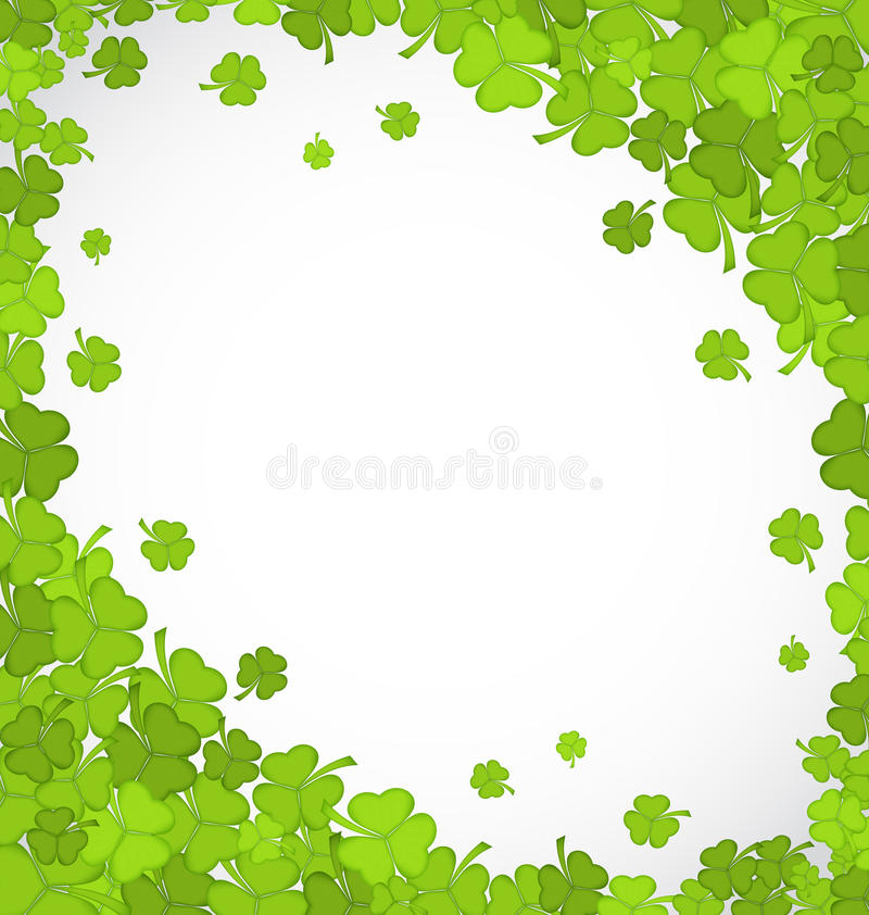 Natural frame with clovers for St. Patricks Day, copy space for royalty free illustration