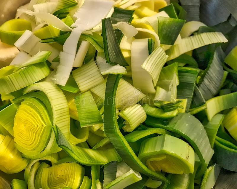 Natural fresh cutted leek royalty free stock images