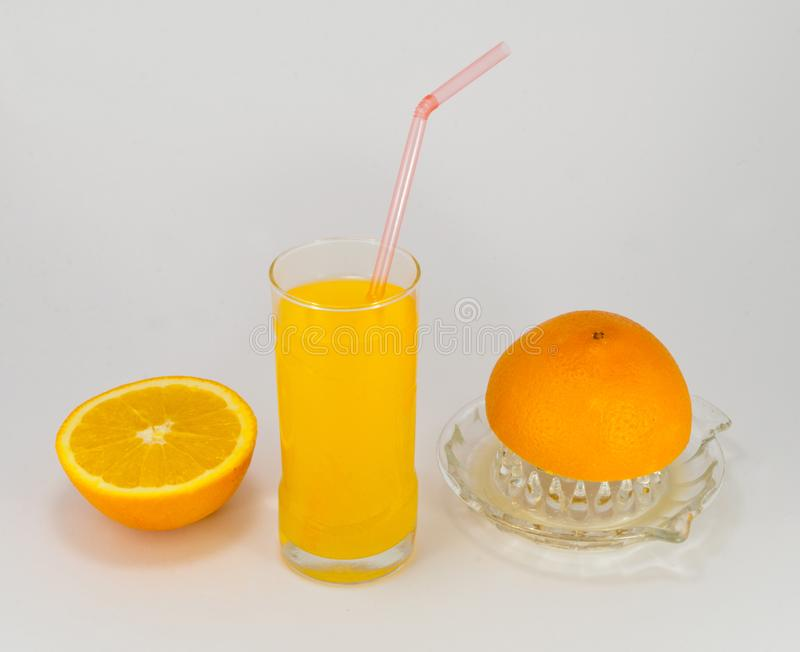 Natural fruit juice, orange, refreshment, morning drink. Juice is a drink made from the extraction or pressing of the natural liquid contained in fruit and royalty free stock photo