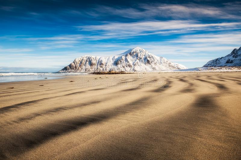 Natural furrow sand with snow mountain and blue sky. At Skagsanden beach, Lofoten, Norway royalty free stock images