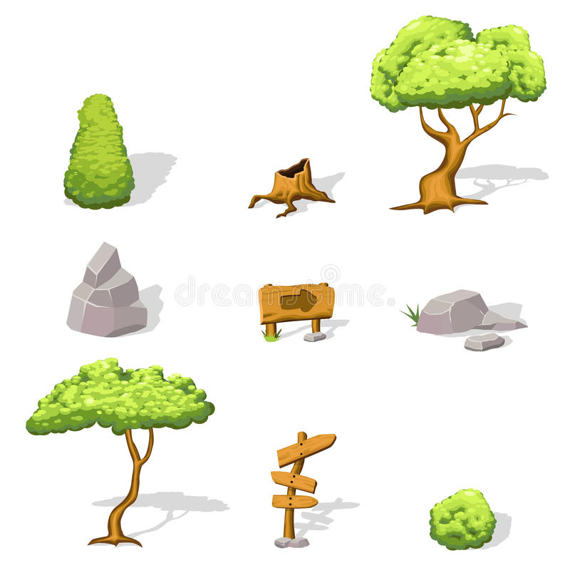 Natural Game Design Elements Set. With green trees bushes stones stump and wooden signboards isolated vector illustration vector illustration