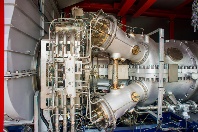 Natural Gas Engines at cogeneration power plant. Gas Turbine stock photography