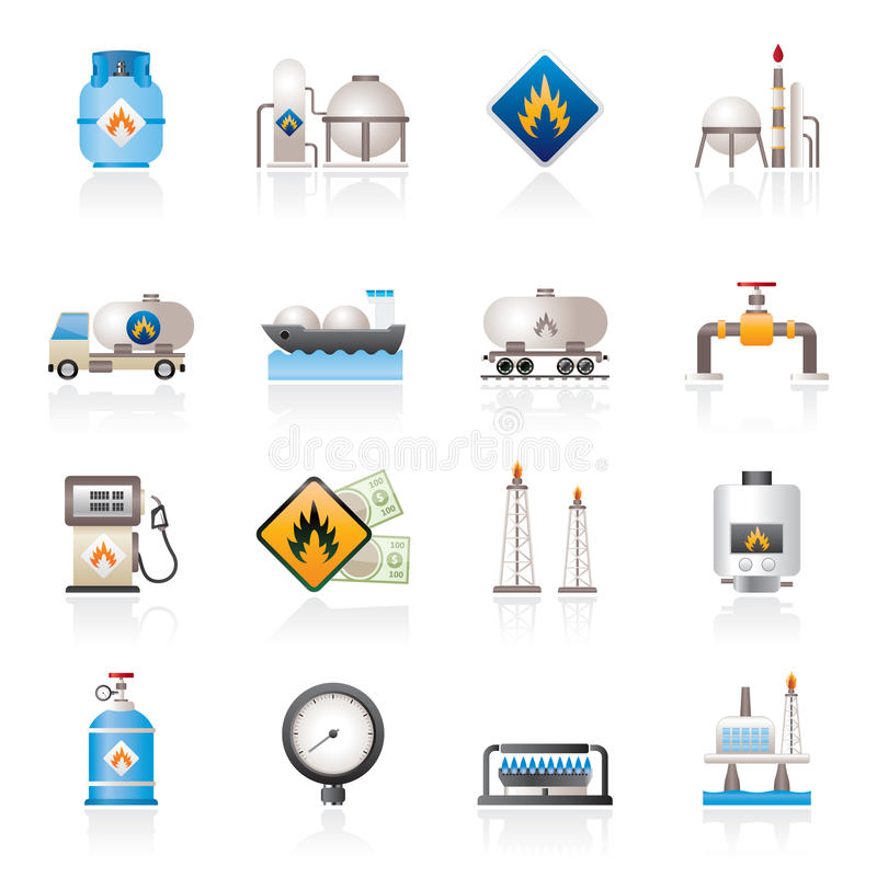 Natural gas fuel and energy industry icons stock illustration