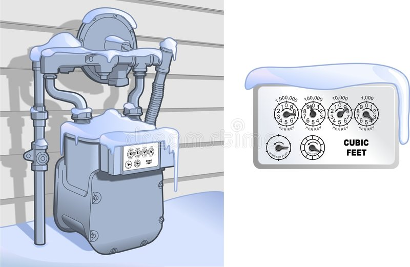 Natural Gas Meter in the Snow vector illustration