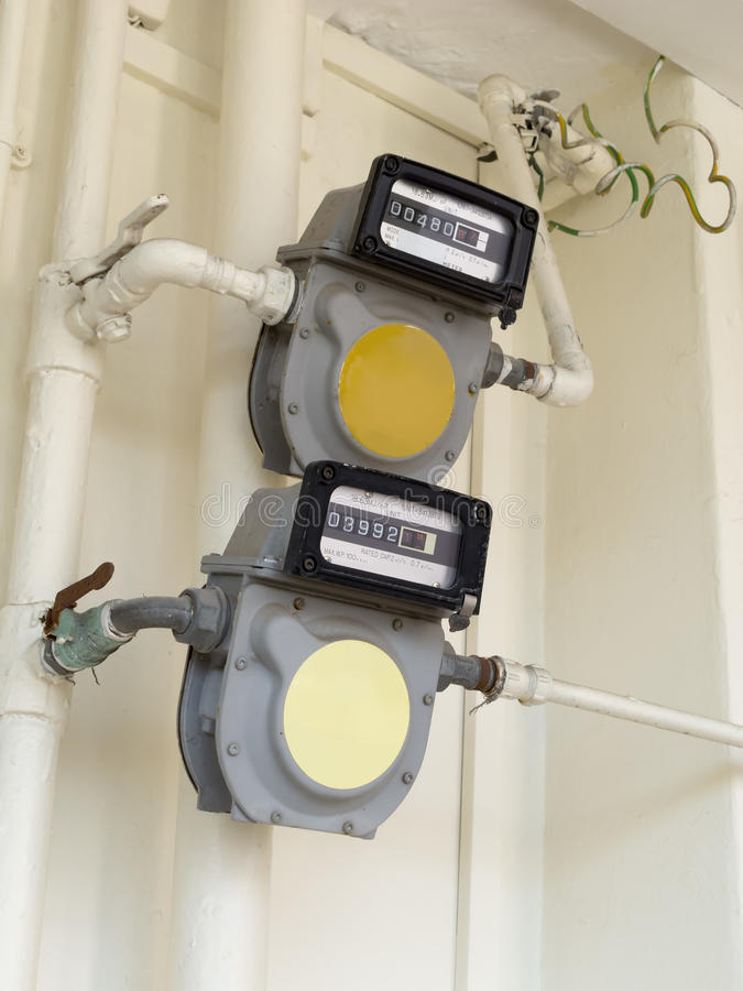Natural Gas Meters Royalty Free Stock Photo