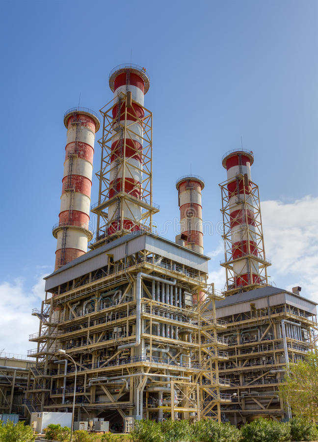 Natural gas power plant. A view of a natural gas power plant royalty free stock image