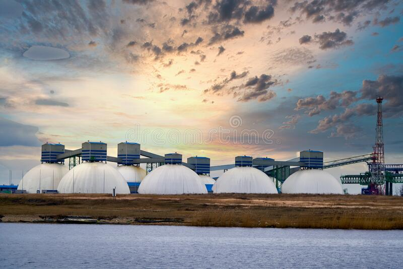 Natural Gas Tank in the morning.  stock image