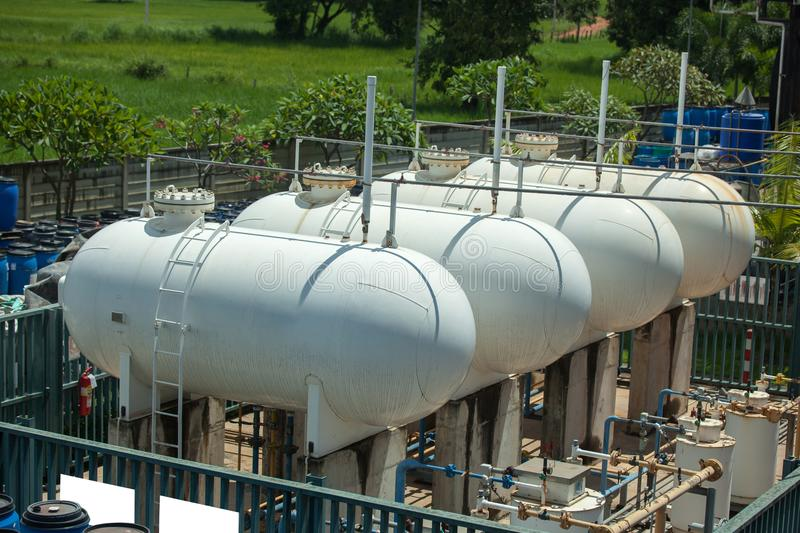 Natural gas tank in the petrochemical industry stock image