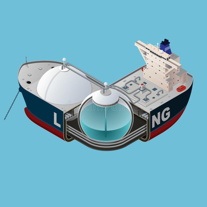 Natural Gas transportation. LNG carrier isometric structure design. Merchant ship for transporting liquefied natural gas. Vector illustration stock illustration