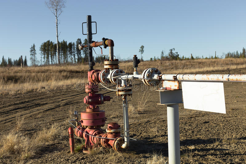 A natural gas wellhead stock photos