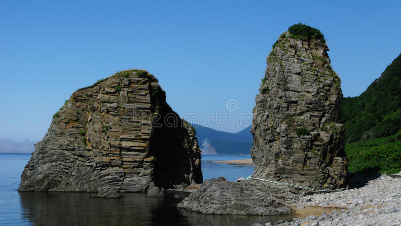 Natural gate in cape Stolbchatiy stock photos