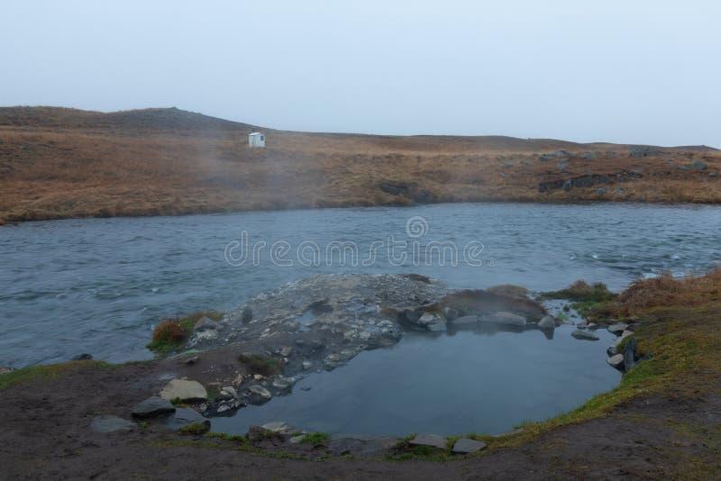 Natural geothermal pool next to Reykjafoss waterfall, iceland. Natural geothermal pool next to Reykjafoss waterfall in iceland royalty free stock photo