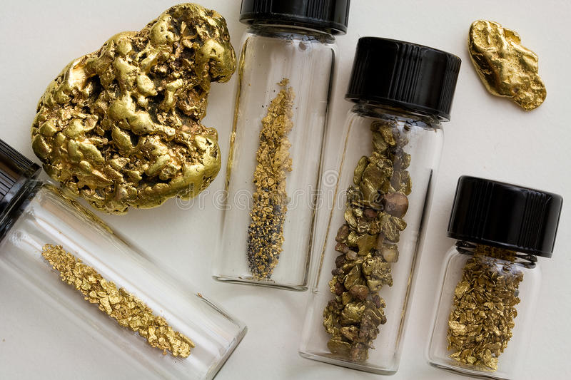 Natural Gold Nuggets and Dust - California, United States. Natural Placer Gold Nuggets and Gold Dust - California, United States. The largest nugget weighs about stock images