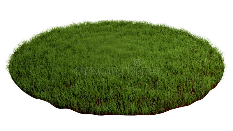 Natural grass arena. Round surface covered with grass, grass podium, lawn background. 3d illustration.  royalty free illustration
