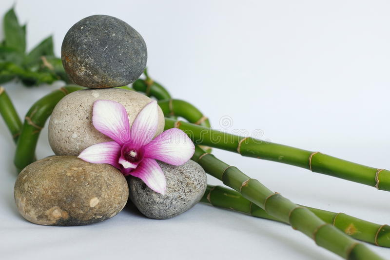 Natural gray pebbles arranged in zen lifestyle with an orchid on the right side of the bamboo stalks right on a white background. Pebbles arranged in zen royalty free stock photography